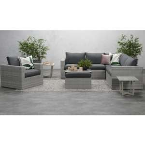 Oravo Corner Sofa Group With Armchair In Organic Grey