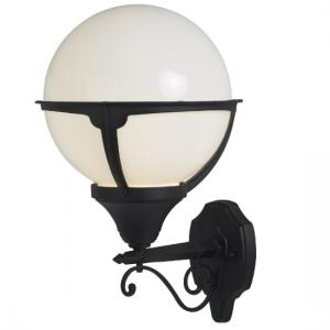 Orb Outdoor 1 Light Round Wall Light In Black With Opal Shade