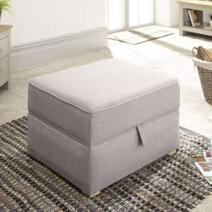 Orbis Fabric Storage Foot Stool Square In Light Grey Hopsack
