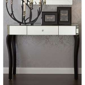 Orca Mirrored Console Table With Black Wooden Legs