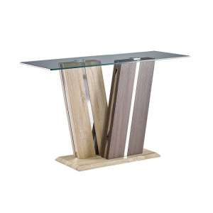 Oreo Glass Console Table In Clear With Light And Dark Wood Base