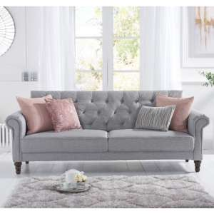 Orexo Linen Fabric Upholstered Sofa Bed In Grey