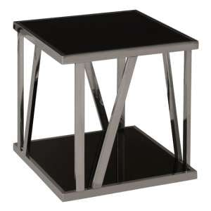 Orion Black Glass Square Side Table With Bottom Shelf