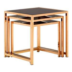 Orion Set Of 3 Glass Square Side Tables In Rose Gold