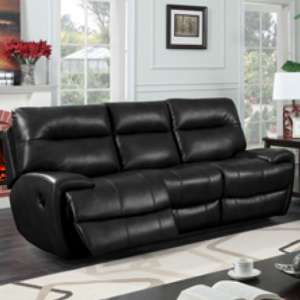 Orionis LeatherGel And PU Recliner 3 Seater Sofa In Black