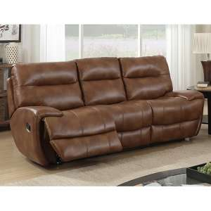 Orionis LeatherGel And PU Recliner 3 Seater Sofa In Brown