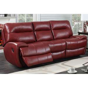 Orionis LeatherGel And PU Recliner 3 Seater Sofa In Red