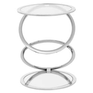 Orizone Clear Glass End Table With Chrome Stainless Steel Legs