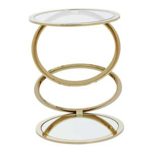 Orizone Clear Glass End Table With Gold Stainless Steel Legs
