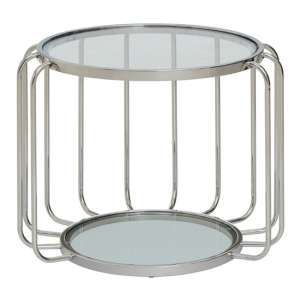 Orizone Clear Glass Top Side Table With Chrome Frame