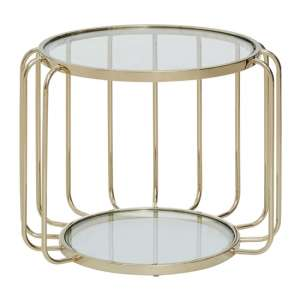 Orizone Clear Glass Top Side Table With Gold Frame