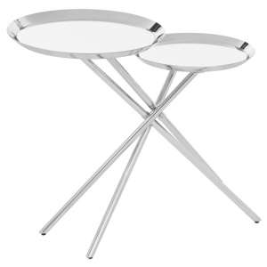 Orizone Mirrroed Side Table With Silver Stainless Steel Legs