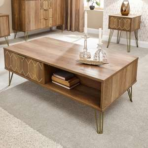 Orleans Coffee Table In Mango Wood Effect With 2 Drawer