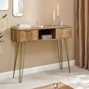 Orleans Console Table In Mango Wood Effect With 2 Drawers