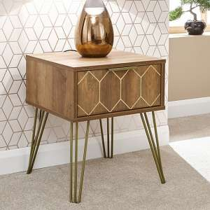 Orleans Lamp Table In Mango Wood Effect With 1 Drawer