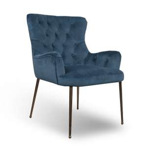 Ormond Accent Chair In Brushed Velvet Caribbean Blue