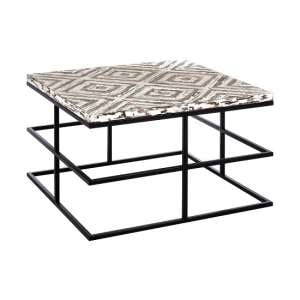 Orphee Wooden Coffee Table Square In White With Metal Frame