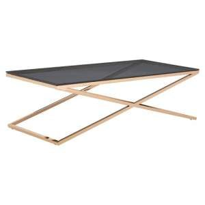 Orson Glass Coffee Table In Smoked Amber With Gold Finish Frame