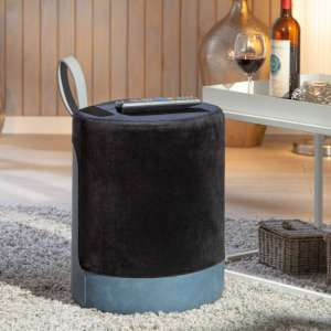 Osane Fabric Ottoman Stool In Black