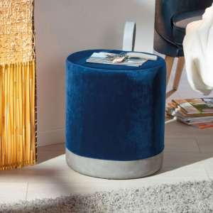Osane Fabric Ottoman Stool In Blue
