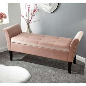 Osbees Fabric Upholstered Window Seat Bench In Pink
