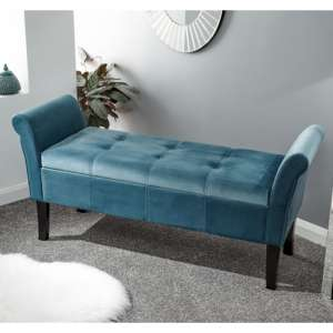 Osbees Fabric Upholstered Window Seat Bench In Teal