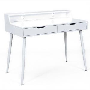 Oscar Computer Desk In White High Gloss With 2 Drawers