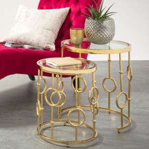 Osian Glass Nest Of 2 Tables And Gold Plated Stainless Steel