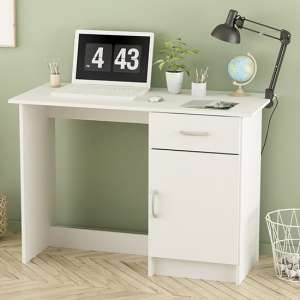 Osiris Wooden Laptop Desk In Matt White With 1 Door 1 Drawer