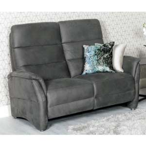 Oslo Fabric Upholstered Electric Recliner 2 Seater Sofa In Grey