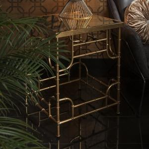 Oslo Mirrored Side Table Square In Bamboo Effect Gold
