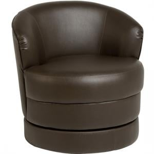 Osman Swivel Tub Chair In PU Expresso Brown