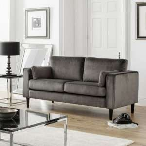 Oswald 2 Seater Sofa In Grey Velvet With Wooden Legs