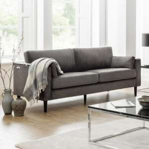 Oswald 3 Seater Sofa In Grey Velvet With Wooden Legs