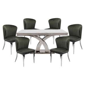 Ottavia Large Marble Dining Table In Bone White With 6 Chairs