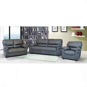Ottawa Sofa Set In Faux Leather With Dark Feet