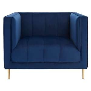Macondo Velvet Armchair In Deep Blue