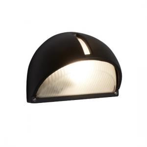 Half Moon Outdoor Light In Black Aluminium With Frosted Glass