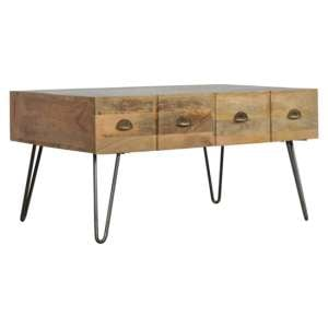 Ouzel Wooden Coffee Table In Oak Ish With Iron Base
