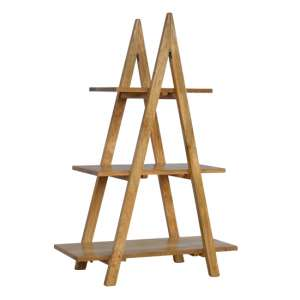 Ouzel Wooden Ladder Style Open Display Stand In Oak Ish