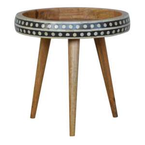 Ouzel Wooden Small Nordic Style End Table In Bone Inlay And Oak