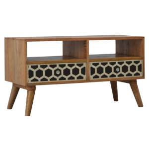 Ouzo Wooden TV Stand In Bone Inlay And Oak