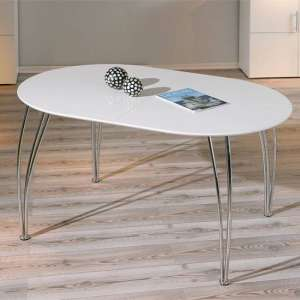 Ovali Extendable Dining Table In High Gloss White With Metal Leg
