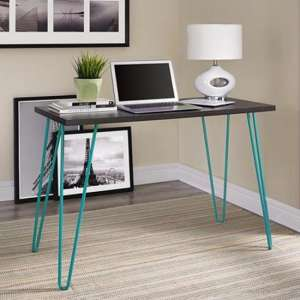 Owen Wooden Retro Laptop Desk In Espresso And Teal