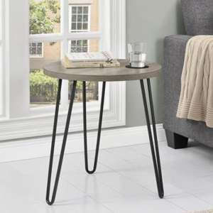 Owen Wooden Round End Table In Distressed Grey Oak