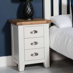 Oxford Wooden Bedside Cabinet In White And Oak With 3 Drawers