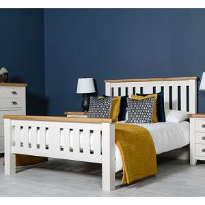 Oxford Wooden King Size Bed In White And Oak