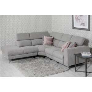 Pacific Fabric Upholstered Left Handed Corner Sofa In Grey