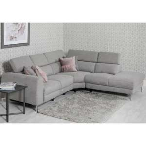 Pacific Fabric Upholstered Right Handed Corner Sofa In Grey