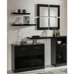 Padova Wooden Hallway Furniture Set In Black High Gloss